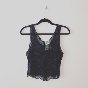 Moyna | NWT Black Silk Beaded Sheer Tank | Sz L